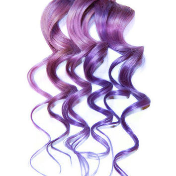 Lilac Lavender Pastel Purple Human Hair Extensions, Clip In Human Hair Extensions 14''