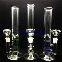 Tall 30cm Glass Bong Water Pipe With Double Filter Bubbler Band Blown Glass Vase Bongs Honeycomb Disk with bowl accessory in stock