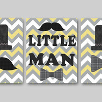 Kids wall art Little Man Nursery Baby Nursery Decor Baby Boy Nursery Kids Art Baby Room Decor Nursery Print Boy Print set of 3 11x14 gray
