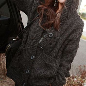 Chicloth Dark Gray Cable Knit Hoodie Cardigan