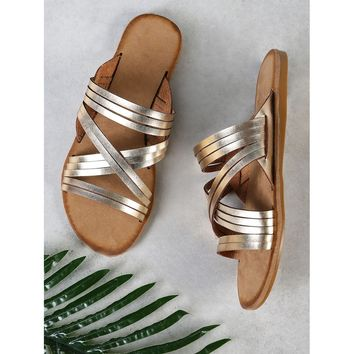 Criss Cross Strappy Band Slide Sandal GOLD