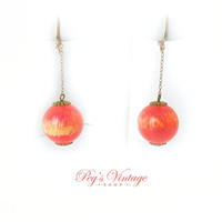 Vintage Dangle Balls Screw On Earrings, Pink / Red / Yellow Lucite Ball Earrings