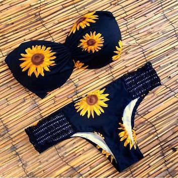 Women Swimsuit 2017 New Arrival Floral Sexy Lady Women Bikini Set Sunflower Padded Bra Swimwear Swimsuit Bathing Suit