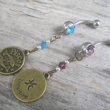 Pisces Belly Ring, BRONZE Zodiac Belly Button Jewelry, Personalized Birthstone Piercing, Aquamarine Amethyst Jewelry, Astrology Navel Ring