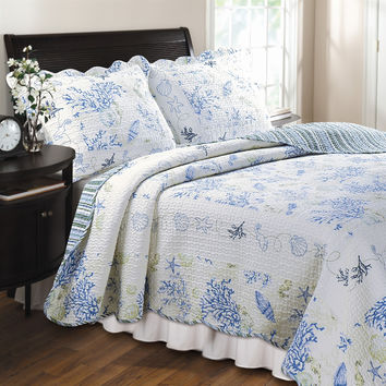 Full/Queen 100% Cotton Quilt Set in Blue Coral Sea Shells Starfish