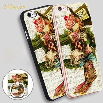 Minason Mad Hatter Joker Card Mobile Phone Shell Soft TPU Silicone Case Cover for iPhone X 8 5 SE 5S 6 6S 7 Plus
