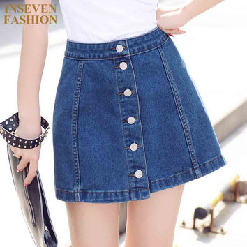 Summer Style Women Denim Skirts New Fashion Ladies High Waist Button Mini Jeans Skirt Color Blue DY5