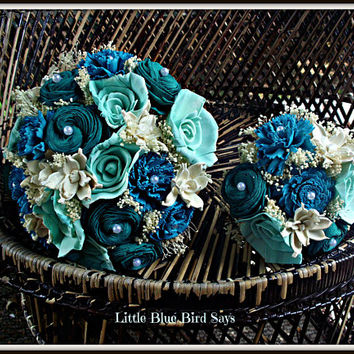 Turquoise, navy, mint and teal bridal bouquet | rustic bouquet | sola bouquet | Rustic wedding | beach bouquet | beach wedding | sola flower