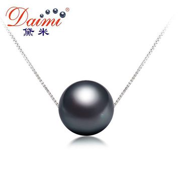 Black Tahitian Pearl Pendant Sterling Silver Jewelry Simple Pearl Pendant Necklace Jewelry