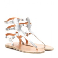 ancient greek sandals - themis metallic-leather sandals