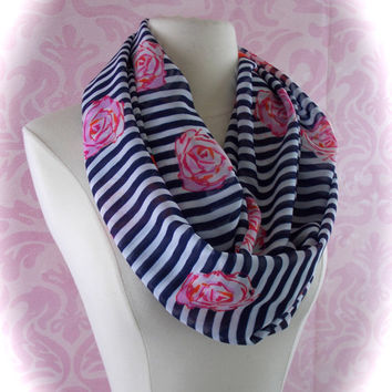 Navy striped infinity scarf/floral scarf