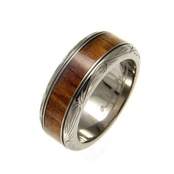 Mens Titanium Scroll Wedding Band Genuine Inlay Hawaiian Koa Wood Ring - 8mm