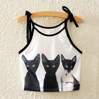 Sexy Stylish Hot Comfortable Bralette Beach Summer Cats Crop Top Print Spaghetti Strap Sleeveless Vest [6267555078]