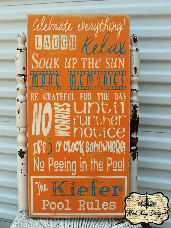 Personalized Family Pool Rules Subway From Madi Kay Designs