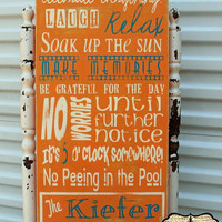Personalized Family Pool Rules Subway Sign, Pool Sign12 X 24 Tangerine