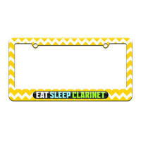 Eat Sleep Clarinet - Music - License Plate Tag Frame - Yellow Chevrons Design