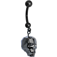 Black Crystal Skull Dangle Belly Ring MADE WITH SWAROVSKI ELEMENTS | Body Candy Body Jewelry