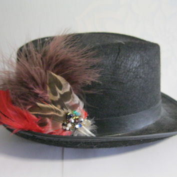 Red Feather Hat Pin, fascinator, steampunk, hair clip, brooch, country, wedding
