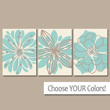 Floral Bathroom WALL ART, CANVAS or Prints, Aqua Beige Bedroom Pictures, Floral Decor, Flower Wall Art, Set of 3 Home Decor Wall Decor