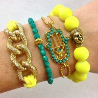 Canary Boho Bracelet Stack in Neon Yellow and Teal