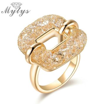 Mytys Square Ring Crystal Wire Mesh Net Hollow Ring for Women Fashion Trendy Jewelry Accessory R1218