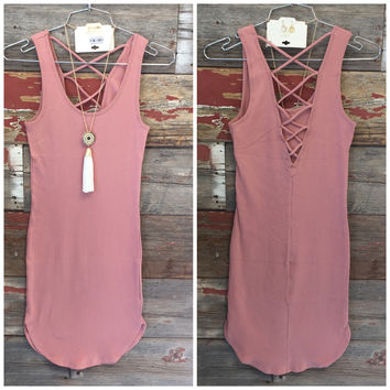 Back at It Ribbed Tank Dress: Rose