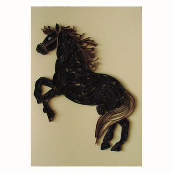 Horse Quilling Card, Black Horse Greeting Card, Year of the Horse Greeting Card