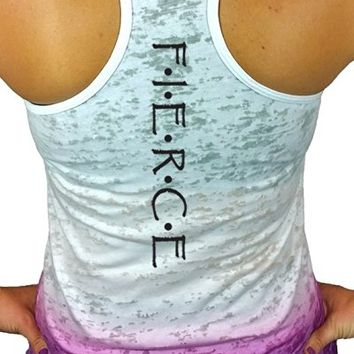 Women's Workout Tank Top - Fierce Ombre Burnout Racerback Fitness Tank Tops
