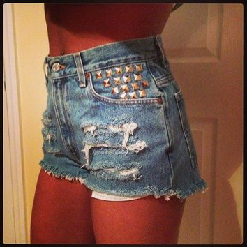 Vintage High Waisted Studded and Frayed Levis Shorts from Bad Habit