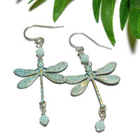 Dragonfly Earrings With Swarovski Crystals in Mint Alabaster Silver Filled Ear Wires Patina Charms Handmade Jewelry