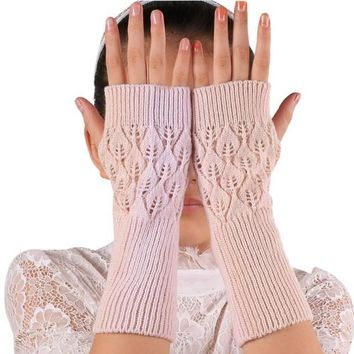 Women Knitted Fingerless Winter Gloves Soft Warm Mitten Winter Hand Arm Crochet Gloves#B811