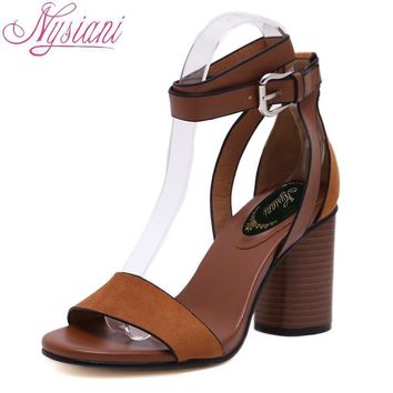 Nysiani 2018 Woman Summer Shoes With Heel Cover Heel Buckle Strap Women Shoes High Heel Sandals Brand Designer Casual Shoes