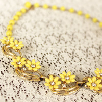 Vintage Bib Flower Necklace with Yellow, Gold, and Rhinestone Accents - 1960s Statement Jewelry in Excellent Condition