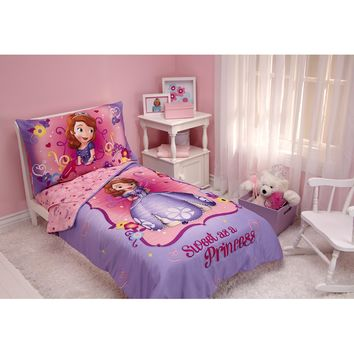 """Disney Sofia the First 3pc Toddler Bedding Set with BONUS Matching Pillow Case Multicolor 60"""" x 45"""""""