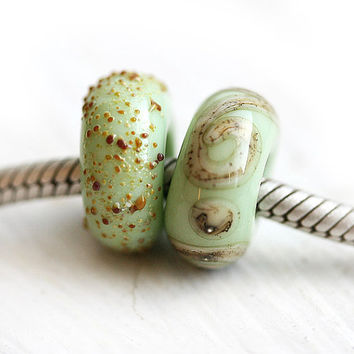 Lampwork Large Hole beads, Mint European charm beads, Sage green glass beads, Charm Bracelet beads, SRA, by MayaHoney