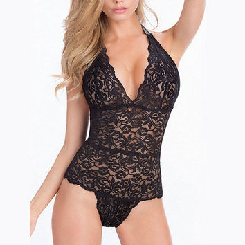 Hot 2016  Women Sexy Lingerie Sheer Stretch Lace Teddy One Piece Thong Bodysuit  Plus Size M XL XXL
