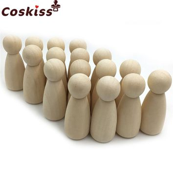 "55mm 2.2"" 30pcs Wooden Peg Dolls - Unfinished Wooden People Girl Skirt Wooden Doll Wooden Girls in a Muslin Bag - DIY Crafts"