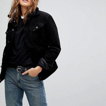 Lee Borg Collar Denim Jacket in Cord at asos.com