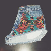 High Waisted Tribal Studded Denim Shorts WAIST SIZE 28''