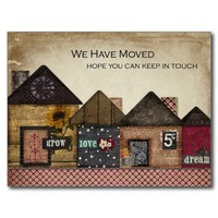 Folk Art Houses We've Moved Post Cards