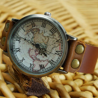 World Map Unisex Brown Leather Strap Watch
