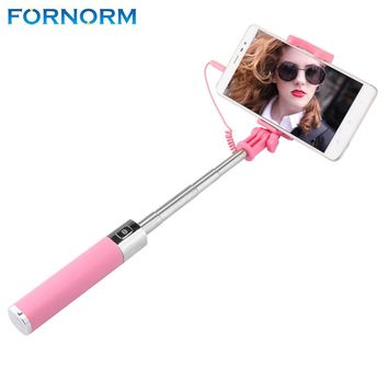 FORNORM Handheld Adjustable 270 Degree Flexible Telescoping Selfie Stick 3.5mm Wired Control with Mirror Smartphone for iPhone S