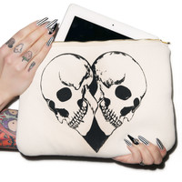 Lauren Moshi Skull Heart iPad Clutch Cream One