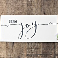 Choose Joy Hand Painted Antique White Wood Sign and Inspirational Wall Decor