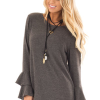 Charcoal Soft Knit Long Sleeve Top with Tiered Bell Sleeves