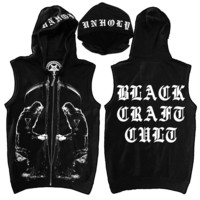 Black Metal Moses- Sleeveless Zip Up Hoodie