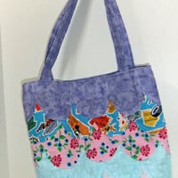 Tote bag with scallops - Spring Tote