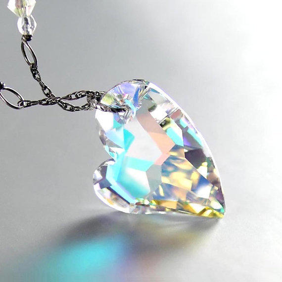 Clear Crystal Heart Necklace Antiqued Sterling Silver Swarovski Crystal Aurora Ice Clear Heart Pendant Necklace