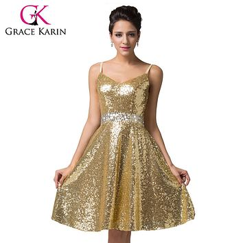 Grace Karin Cocktail Dresses 2017 Double V-Neck Sequin Formal Vestidos Blue Gold Knee Length Sexy Prom Dress Short Party Gown
