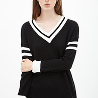 FOREVER 21 Varsity-Striped Sweater